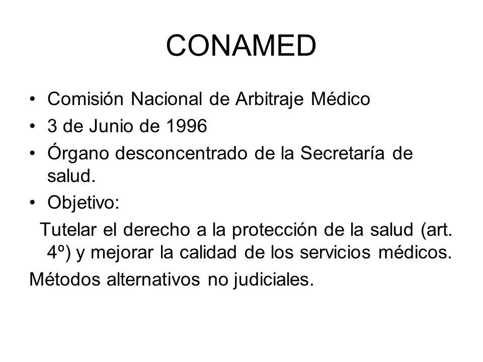 CONAMED Comisión Nacional de Arbitraje Médico 3 de Junio de 1996 Órgano desconcentrado de la Secretaría de salud. Objetivo: Tutelar el derecho a la pr
