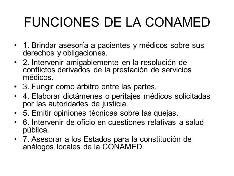 FUNCIONES DE LA CONAMED 1. Brindar asesoría a pacientes y médicos sobre sus derechos y obligaciones. 2. Intervenir amigablemente en la resolución de c