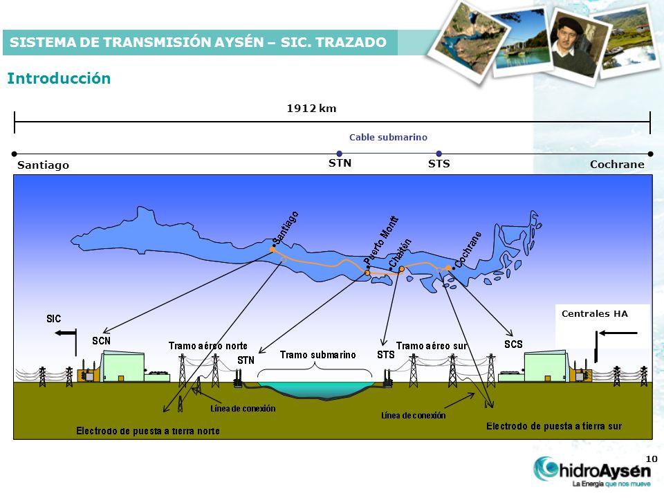 10 Introducción 1912 km Cochrane STS STN Santiago Cable submarino SISTEMA DE TRANSMISIÓN AYSÉN – SIC.