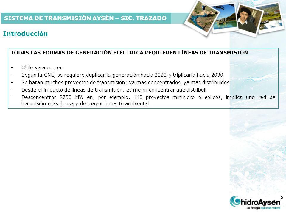 5 Introducción TODAS LAS FORMAS DE GENERACIÓN ELÉCTRICA REQUIEREN LÍNEAS DE TRANSMISIÓN –Chile va a crecer –Según la CNE, se requiere duplicar la generación hacia 2020 y triplicarla hacia 2030 –Se harán muchos proyectos de transmisión; ya más concentrados, ya más distribuidos –Desde el impacto de líneas de transmisión, es mejor concentrar que distribuir –Desconcentrar 2750 MW en, por ejemplo, 140 proyectos minihidro o eólicos, implica una red de trasmisión más densa y de mayor impacto ambiental SISTEMA DE TRANSMISIÓN AYSÉN – SIC.