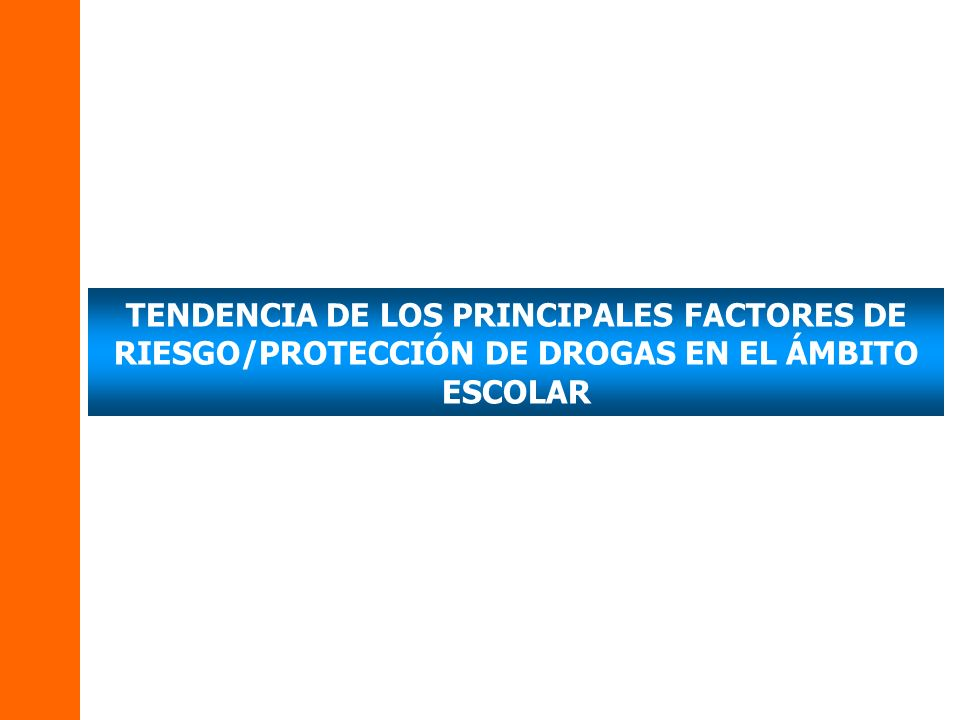 TENDENCIA DE LOS PRINCIPALES FACTORES DE RIESGO/PROTECCIÓN DE DROGAS EN EL ÁMBITO ESCOLAR