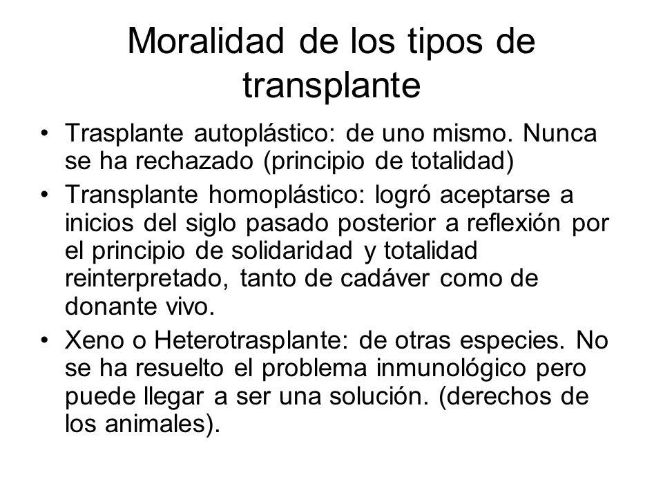 Moralidad de los tipos de transplante Trasplante autoplástico: de uno mismo. Nunca se ha rechazado (principio de totalidad) Transplante homoplástico: