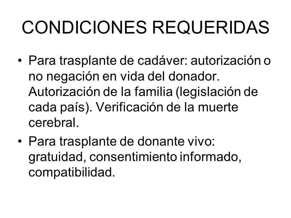 CONDICIONES REQUERIDAS Para trasplante de cadáver: autorización o no negación en vida del donador. Autorización de la familia (legislación de cada paí