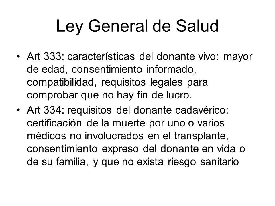 Ley General de Salud Art 333: características del donante vivo: mayor de edad, consentimiento informado, compatibilidad, requisitos legales para compr
