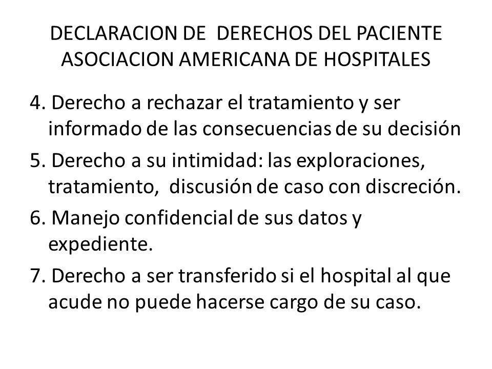 DECLARACION DE DERECHOS DEL PACIENTE ASOCIACION AMERICANA DE HOSPITALES 4. Derecho a rechazar el tratamiento y ser informado de las consecuencias de s