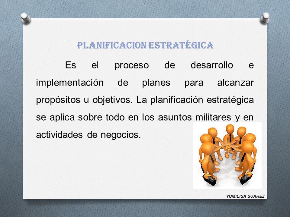 PLANIFICACION ESTRATÉGICA Es el proceso de desarrollo e implementación de planes para alcanzar propósitos u objetivos. La planificación estratégica se