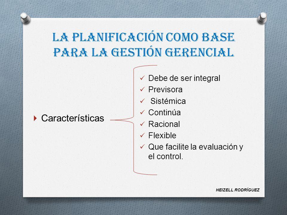 Características Debe de ser integral Previsora Sistémica Continúa Racional Flexible Que facilite la evaluación y el control. HEIZELL RODRÍGUEZ La plan