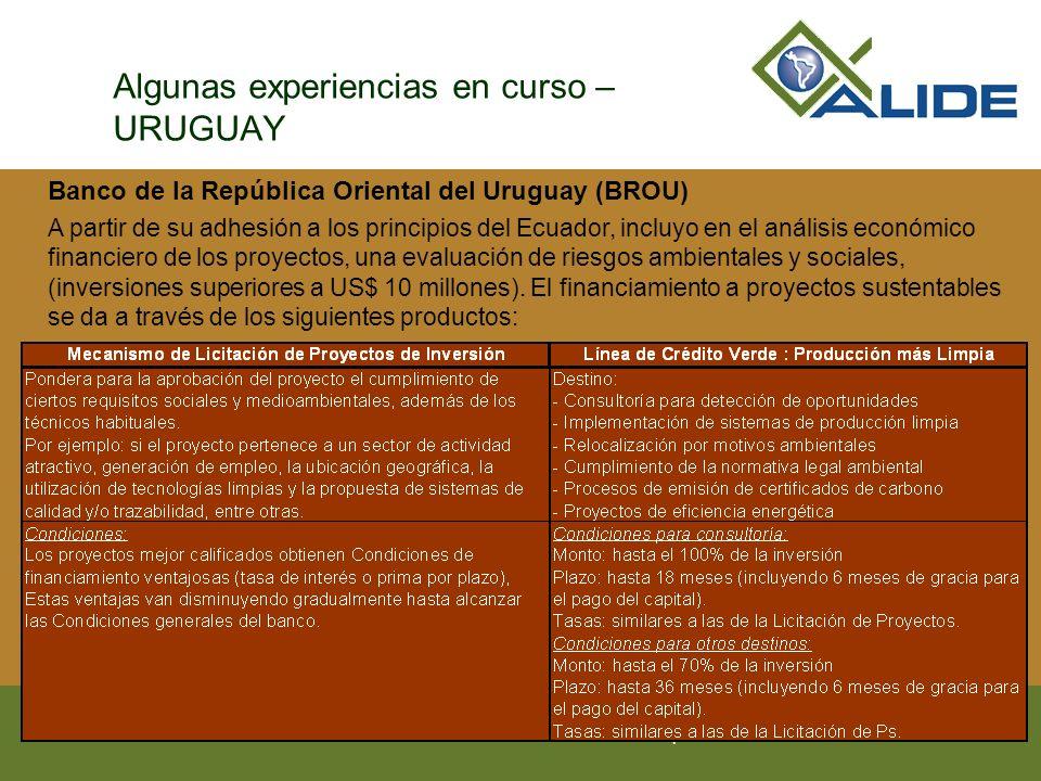 Asociación Latinoamericana de Instituciones Financieras para el Desarrollo Algunas experiencias en curso – URUGUAY Banco de la República Oriental del