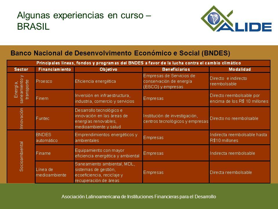 Asociación Latinoamericana de Instituciones Financieras para el Desarrollo Algunas experiencias en curso – BRASIL Banco Nacional de Desenvolvimento Económico e Social (BNDES) (continua)