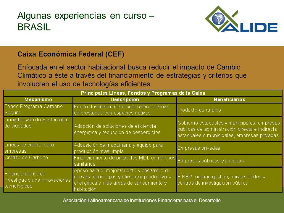 Asociación Latinoamericana de Instituciones Financieras para el Desarrollo Algunas experiencias en curso – BRASIL Caixa Económica Federal (CEF) Enfoca