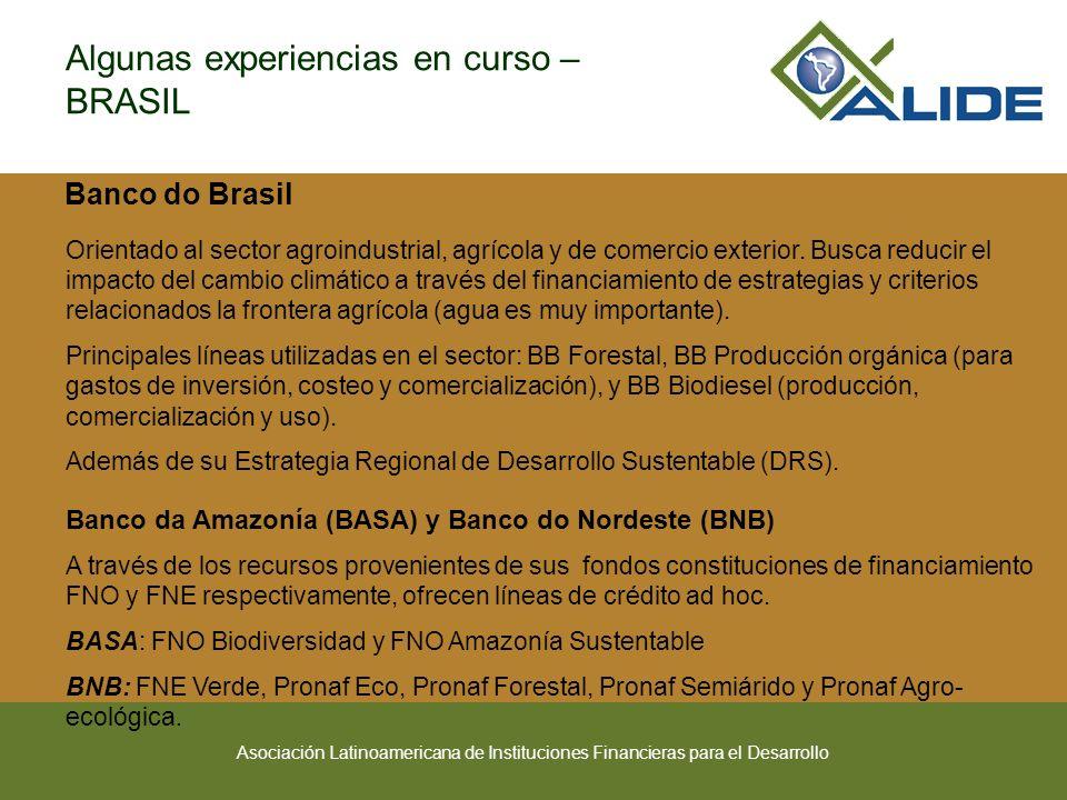 Asociación Latinoamericana de Instituciones Financieras para el Desarrollo Banco do Brasil Orientado al sector agroindustrial, agrícola y de comercio