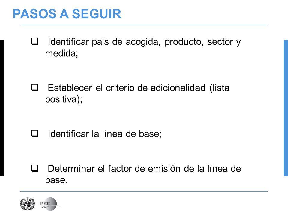 PASOS A SEGUIR Identificar pais de acogida, producto, sector y medida; Establecer el criterio de adicionalidad (lista positiva); Identificar la línea de base; Determinar el factor de emisión de la línea de base.