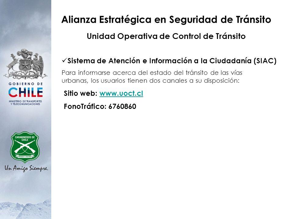 MINISTERIO DE TRANSPORTES Y TELECOMUNICACIONES Alianza Estratégica en Seguridad de Tránsito Unidad Operativa de Control de Tránsito Sistema de Atenció