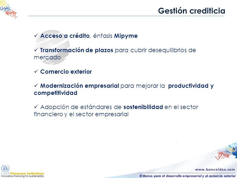Gestión crediticia Acceso a crédito, énfasis Mipyme Transformación de plazos para cubrir desequilibrios de mercado Comercio exterior Modernización emp