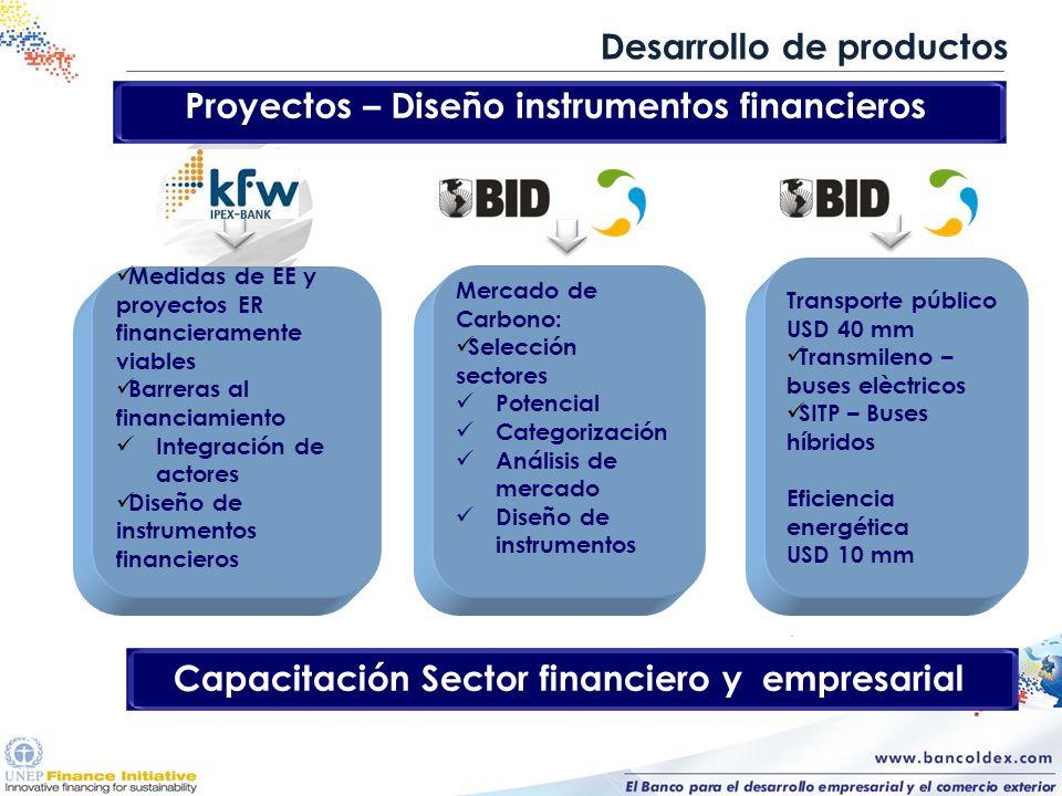 Desarrollo de productos Proyectos – Diseño instrumentos financieros Medidas de EE y proyectos ER financieramente viables Barreras al financiamiento In