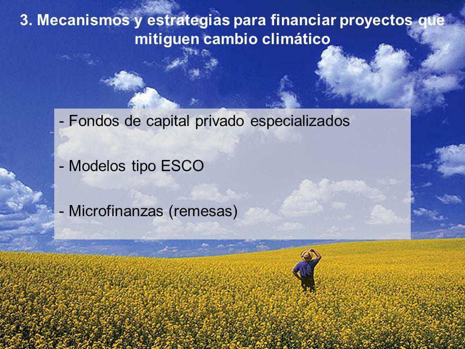 - Fondos de capital privado especializados - Modelos tipo ESCO - Microfinanzas (remesas) 3. Mecanismos y estrategias para financiar proyectos que miti