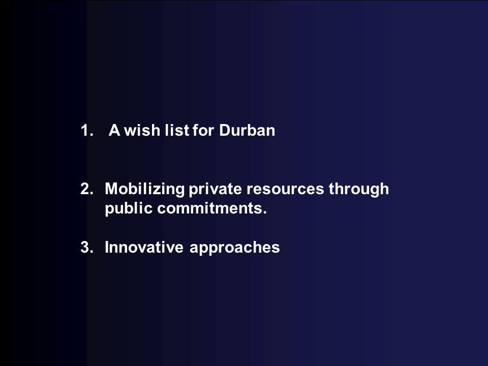 1. A wish list for Durban 2.Mobilizing private resources through public commitments. 3.Innovative approaches