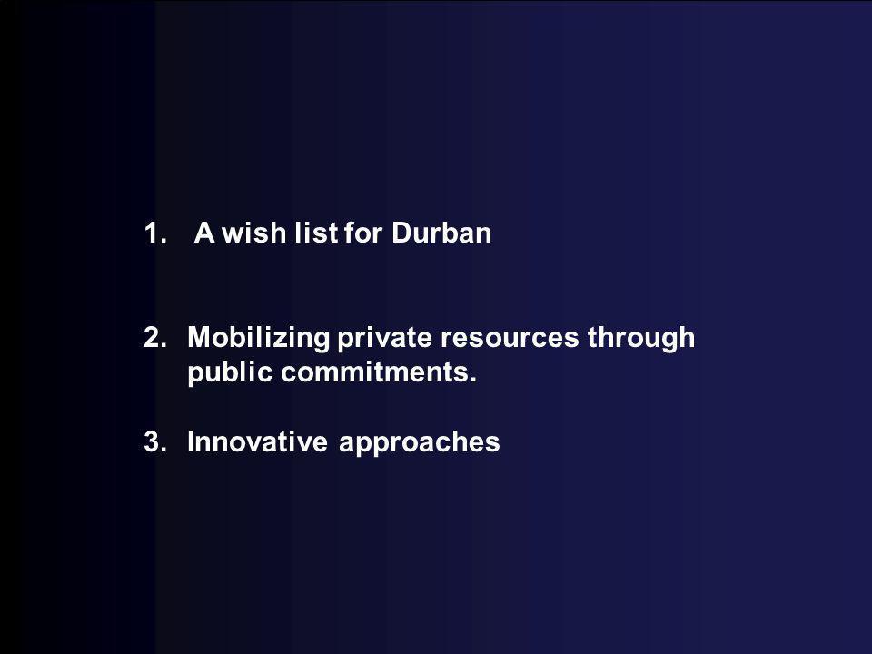 1. whish list for durban