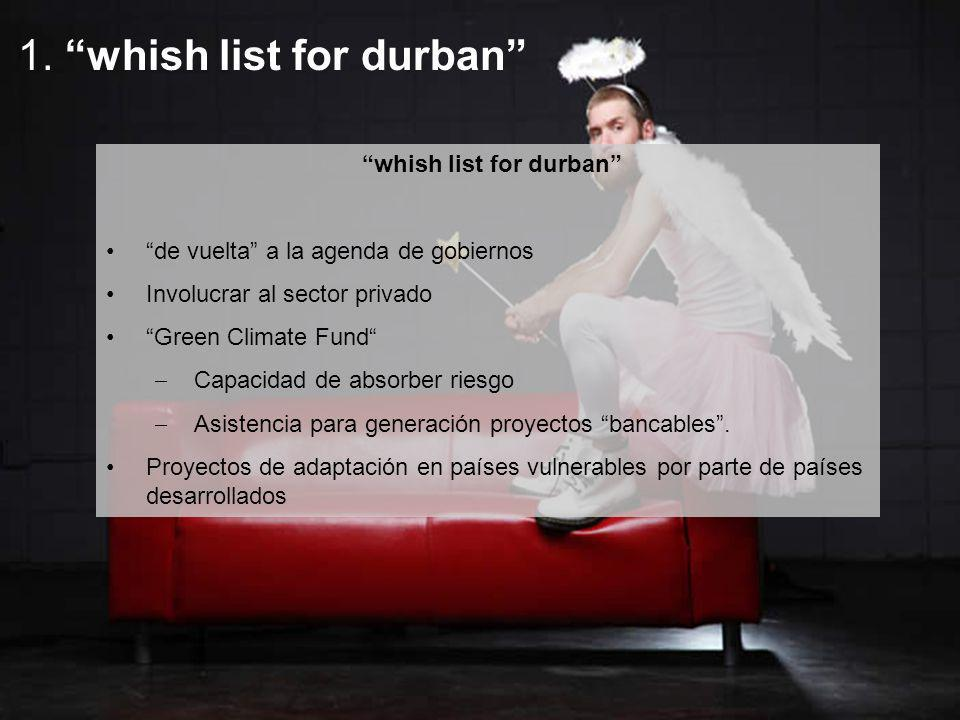 whish list for durban de vuelta a la agenda de gobiernos Involucrar al sector privado Green Climate Fund Capacidad de absorber riesgo Asistencia para generación proyectos bancables.