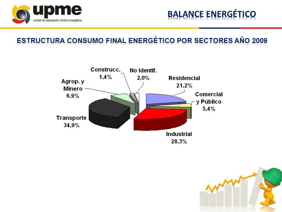 ESTRUCTURA CONSUMO FINAL ENERGÉTICO POR SECTORES AÑO 2009