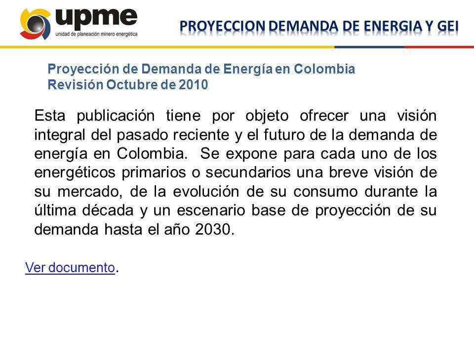 Esta publicación tiene por objeto ofrecer una visión integral del pasado reciente y el futuro de la demanda de energía en Colombia. Se expone para cad