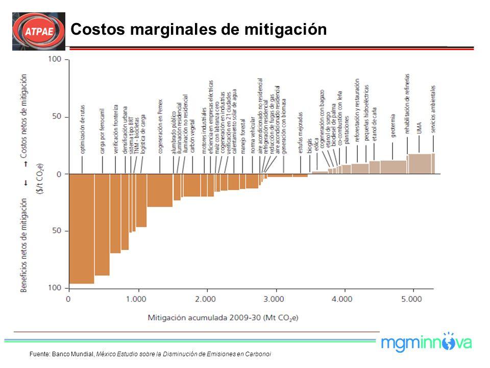 Costos marginales de mitigación Fuente: Banco Mundial, México Estudio sobre la Disminución de Emisiones en Carbonoi