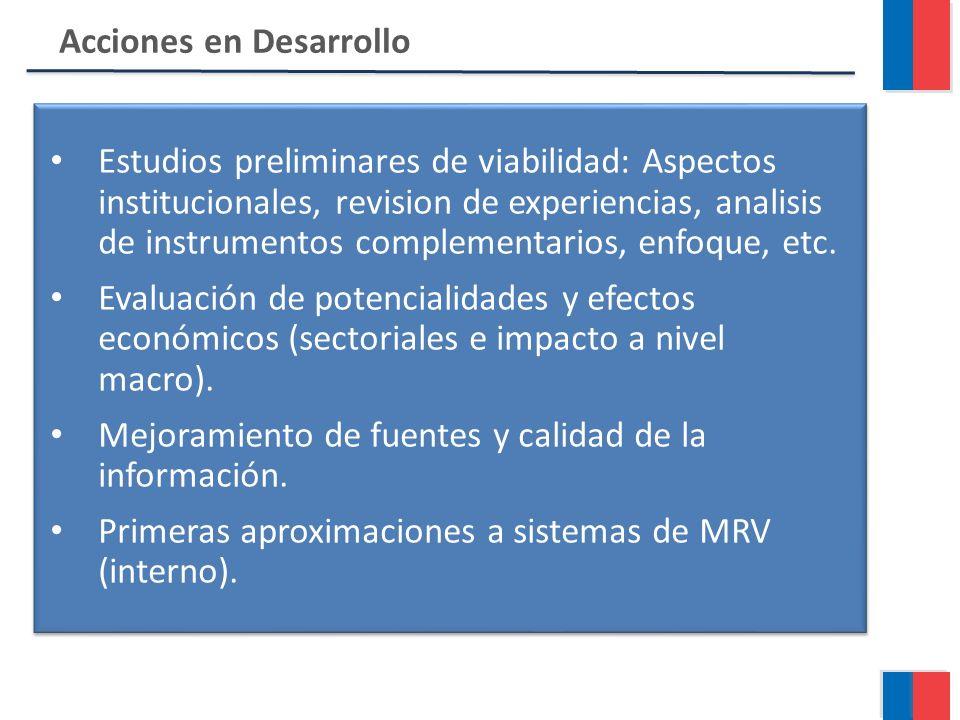 Acciones en Desarrollo Estudios preliminares de viabilidad: Aspectos institucionales, revision de experiencias, analisis de instrumentos complementarios, enfoque, etc.