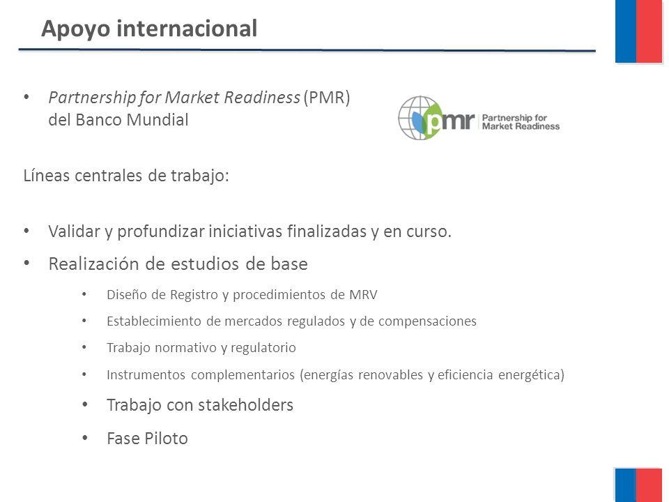 Partnership for Market Readiness (PMR) del Banco Mundial Líneas centrales de trabajo: Validar y profundizar iniciativas finalizadas y en curso.