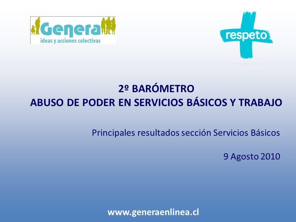 2º BARÓMETRO ABUSO DE PODER EN SERVICIOS BÁSICOS Y TRABAJO www.generaenlinea.cl Principales resultados sección Servicios Básicos 9 Agosto 2010