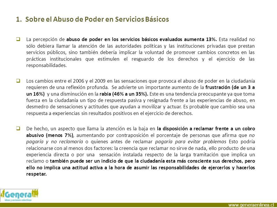 www.generaenlinea.cl 1. Sobre el Abuso de Poder en Servicios Básicos La percepción de abuso de poder en los servicios básicos evaluados aumenta 13%. E