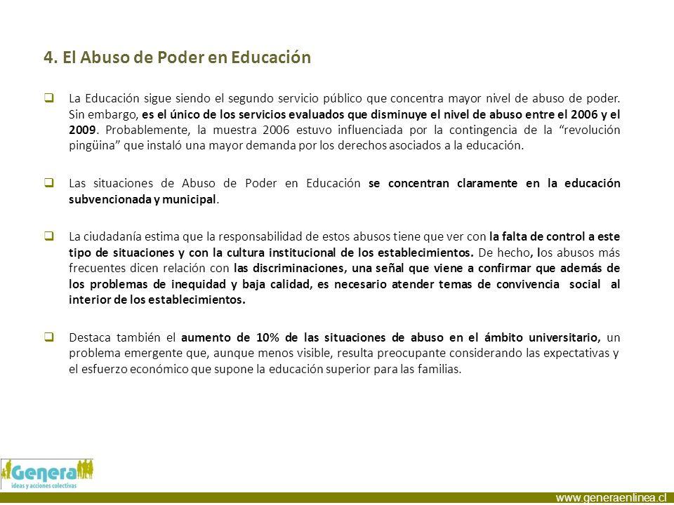 www.generaenlinea.cl 4. El Abuso de Poder en Educación La Educación sigue siendo el segundo servicio público que concentra mayor nivel de abuso de pod