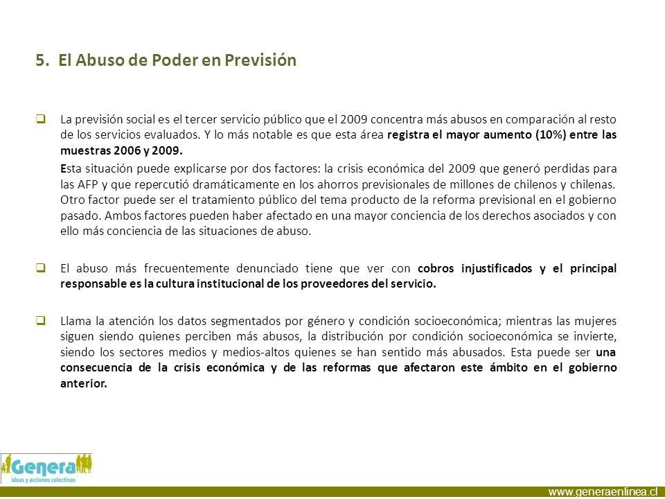 www.generaenlinea.cl 5. El Abuso de Poder en Previsión La previsión social es el tercer servicio público que el 2009 concentra más abusos en comparaci