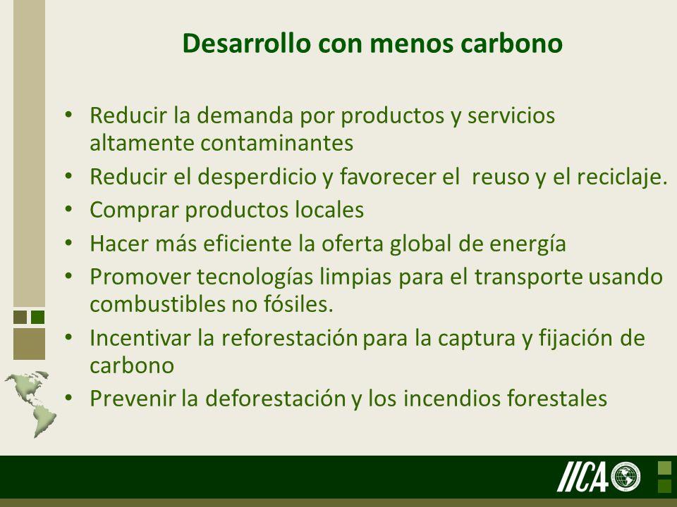Desarrollo con menos carbono Reducir la demanda por productos y servicios altamente contaminantes Reducir el desperdicio y favorecer el reuso y el rec