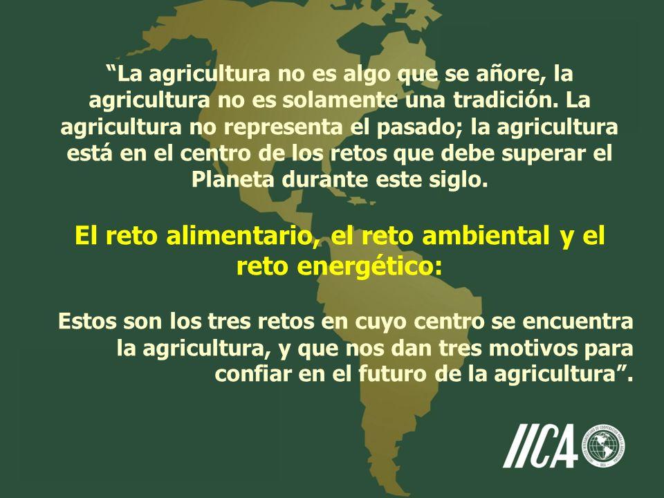 La agricultura no es algo que se añore, la agricultura no es solamente una tradición. La agricultura no representa el pasado; la agricultura está en e