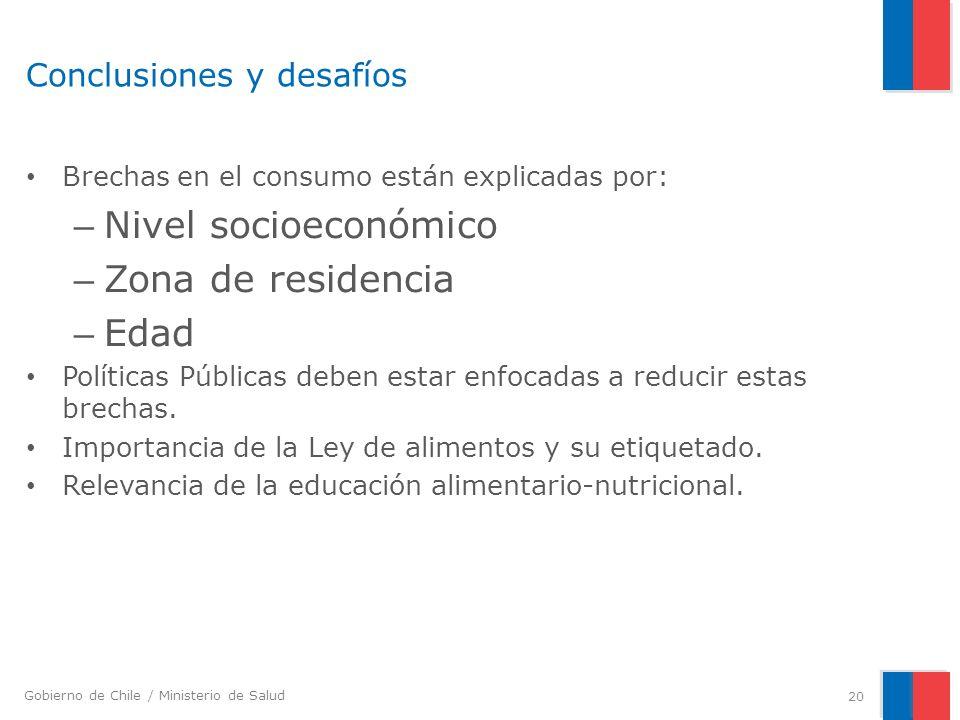 Gobierno de Chile / Ministerio de Salud Conclusiones y desafíos Brechas en el consumo están explicadas por: – Nivel socioeconómico – Zona de residenci