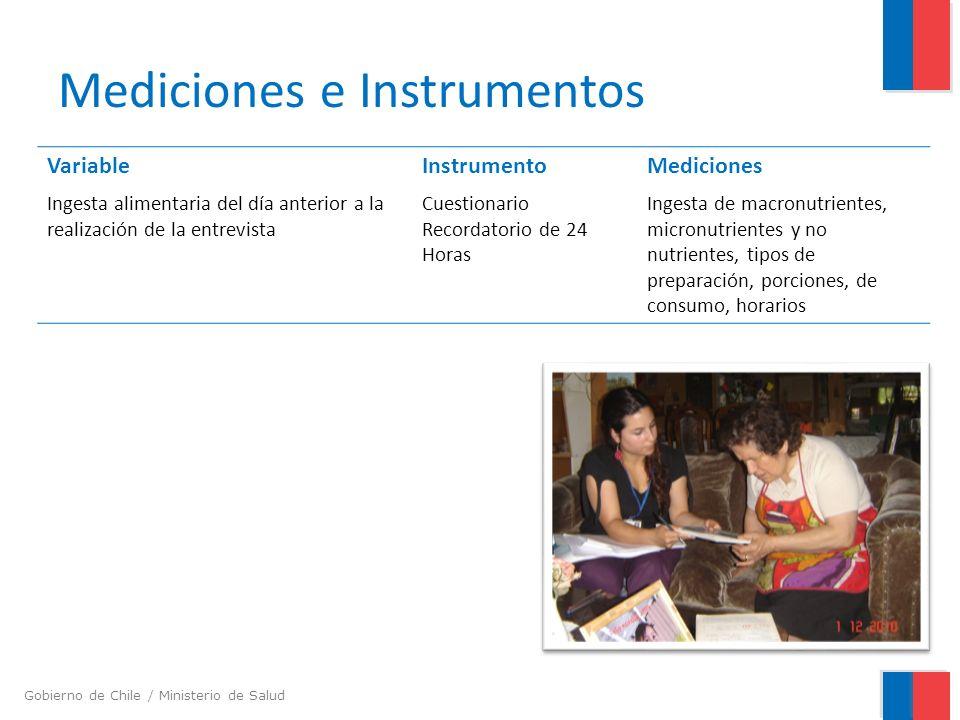 Gobierno de Chile / Ministerio de Salud Mediciones e Instrumentos VariableInstrumentoMediciones Ingesta alimentaria del día anterior a la realización