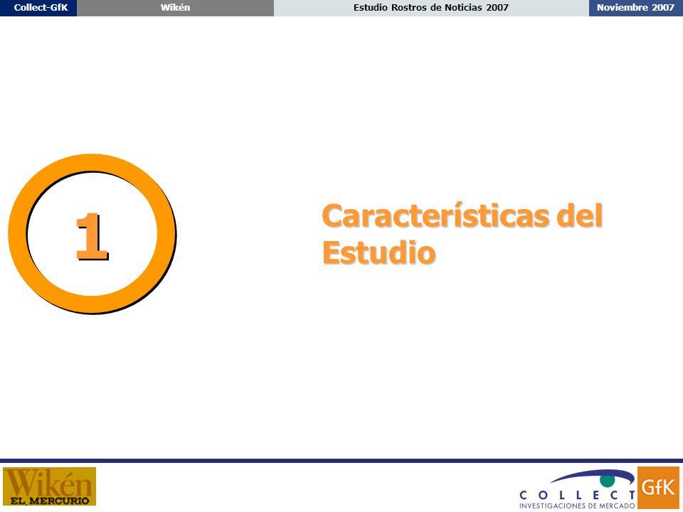 Estudio Rostros de Noticias 2007Collect-GfKWikén Características del Estudio 1 1