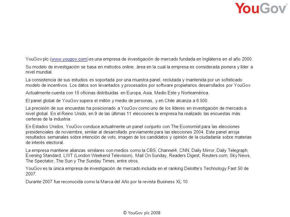YouGov plc (www.yougov.com) es una empresa de investigación de mercado fundada en Inglaterra en el año 2000.www.yougov.com Su modelo de investigación