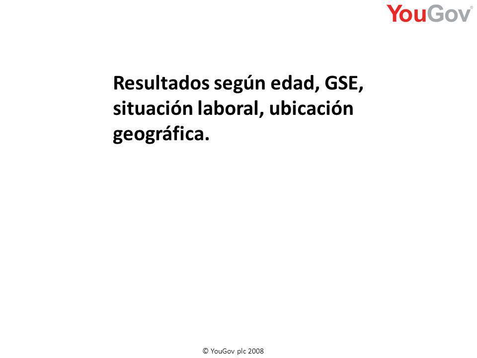 Resultados según edad, GSE, situación laboral, ubicación geográfica.