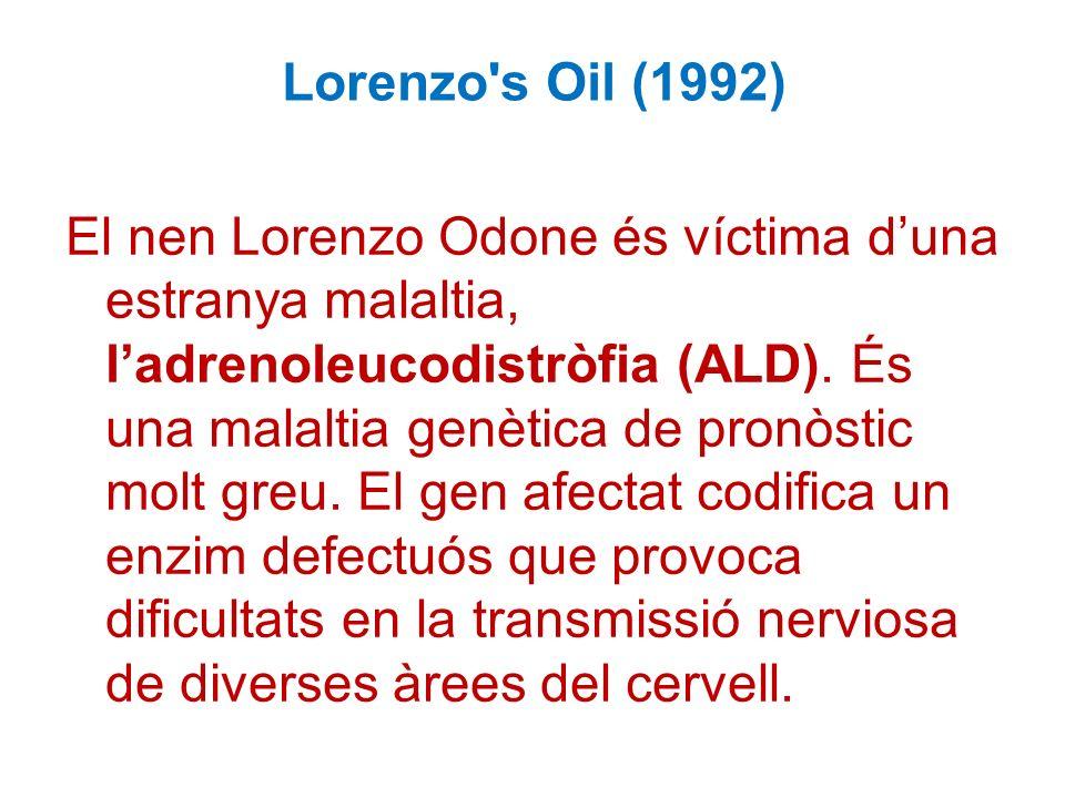 Lorenzo s Oil (1992) El nen Lorenzo Odone és víctima duna estranya malaltia, ladrenoleucodistròfia (ALD).