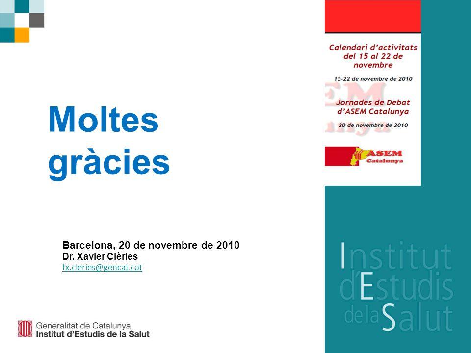 Barcelona, 20 de novembre de 2010 Dr. Xavier Clèries fx.cleries@gencat.cat Moltes gràcies