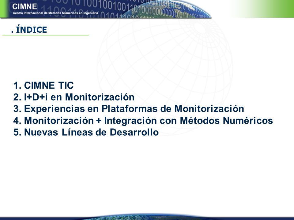 1.CIMNE TIC 2. I+D+i en Monitorización 3. Experiencias en Plataformas de Monitorización 4.