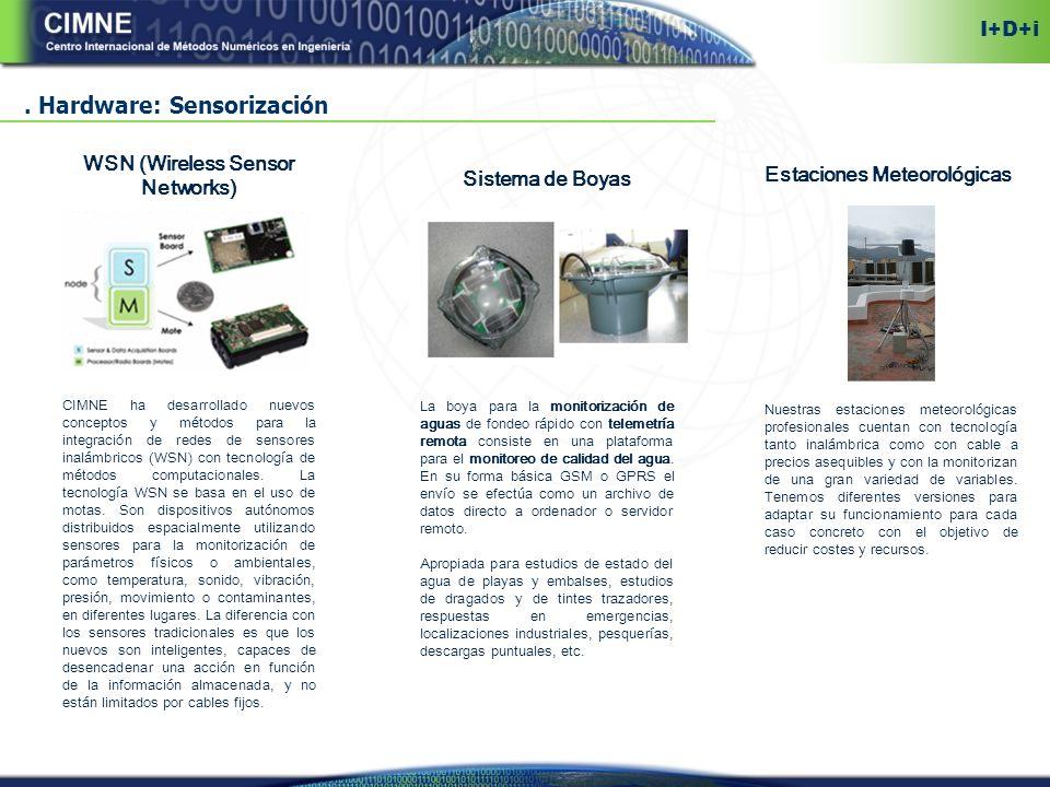 Hardware: Sensorización WSN (Wireless Sensor Networks) CIMNE ha desarrollado nuevos conceptos y métodos para la integración de redes de sensores inalámbricos (WSN) con tecnología de métodos computacionales.