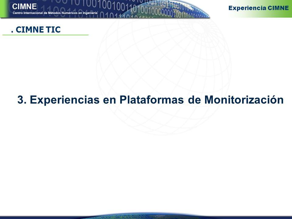 3. Experiencias en Plataformas de Monitorización. CIMNE TIC Experiencia CIMNE