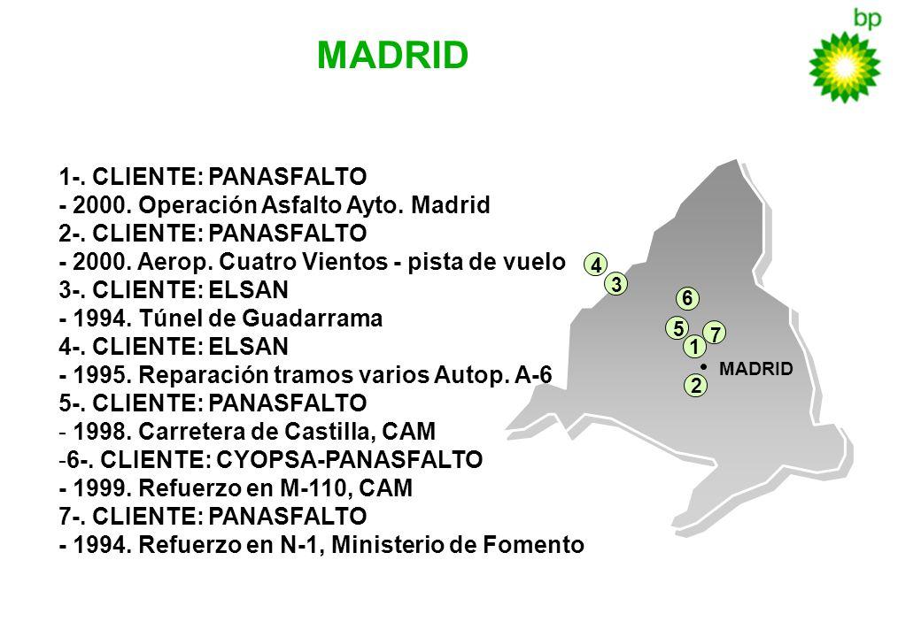 5 MADRID 1-. CLIENTE: PANASFALTO - 2000. Operación Asfalto Ayto. Madrid 2-. CLIENTE: PANASFALTO - 2000. Aerop. Cuatro Vientos - pista de vuelo 3-. CLI