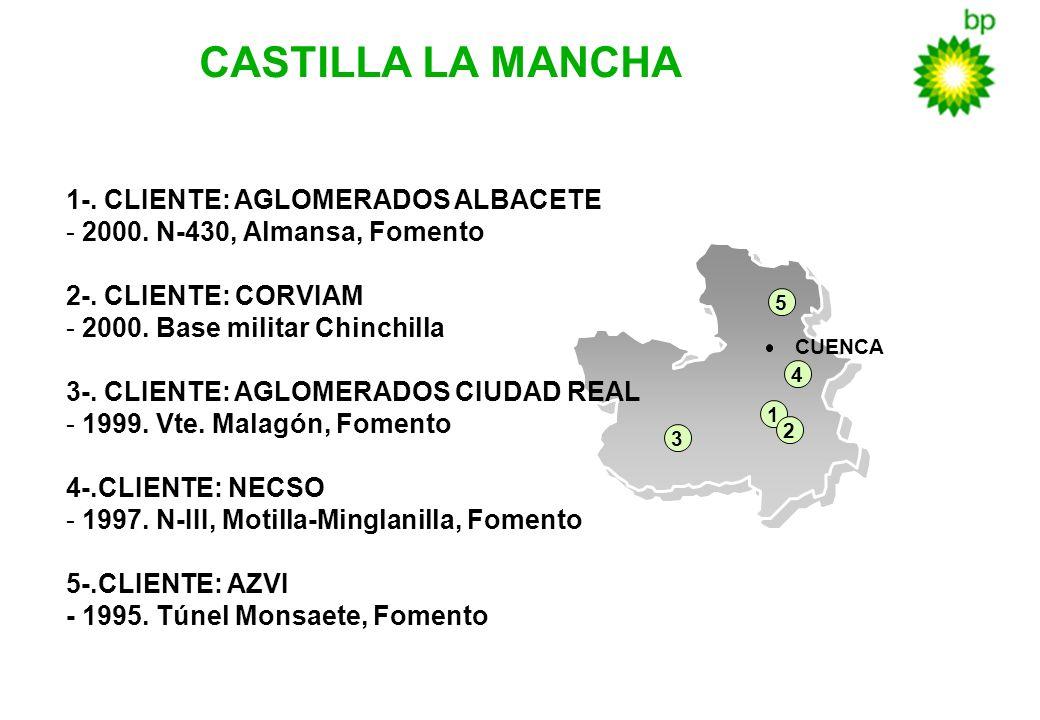 3 CASTILLA LA MANCHA 1-. CLIENTE: AGLOMERADOS ALBACETE - 2000. N-430, Almansa, Fomento 2-. CLIENTE: CORVIAM - 2000. Base militar Chinchilla 3-. CLIENT