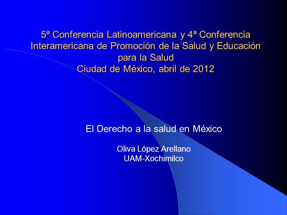 5ª Conferencia Latinoamericana y 4ª Conferencia Interamericana de Promoción de la Salud y Educación para la Salud Ciudad de México, abril de 2012 El D