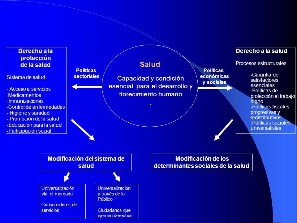 Salud Capacidad y condición esencial para el desarrollo y florecimiento humano. Políticas sectoriales Políticas económicas y sociales Derecho a la pro