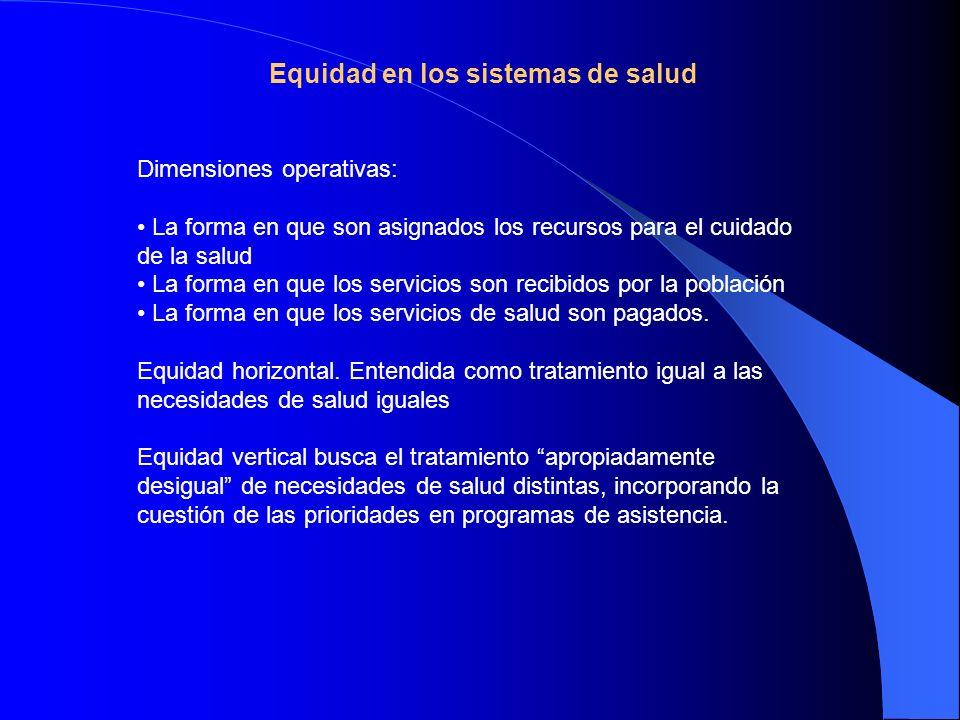 Equidad en los sistemas de salud Dimensiones operativas: La forma en que son asignados los recursos para el cuidado de la salud La forma en que los se