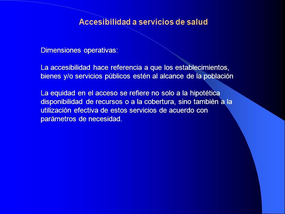 Accesibilidad a servicios de salud Dimensiones operativas: La accesibilidad hace referencia a que los establecimientos, bienes y/o servicios públicos